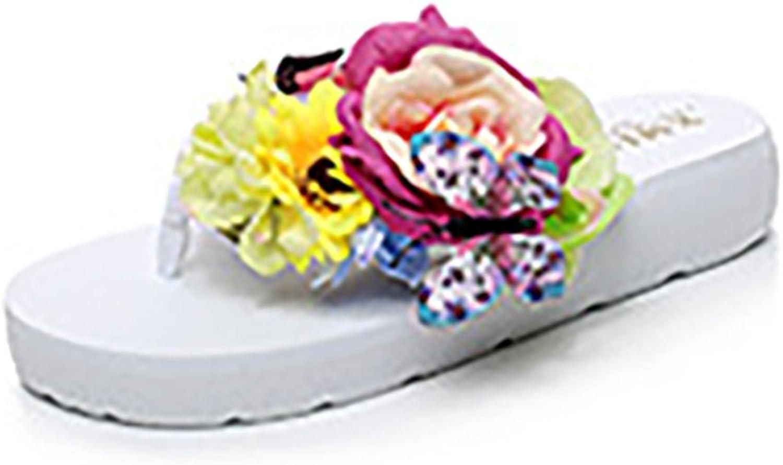 QZUnique shoes Women's Summer Fashion Creative Middle Heel Flip Flops