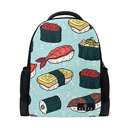 Cartoon Sushi Backpack 14 Inch Laptop Daypack Bookbag for Travel College School