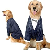Bolbove Medium to Large Dogs Formal Tuxedo Handsome Party Suit Striped Wedding Bow Tie Outfit (7XL)