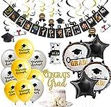 JOYMEMO Abschluss-Dekorations-Schwarzes und Goldhängende Strudel-Abschluss-Foto-Fahne beglückwünschen Absolvent Cake Topper Certificate Balloons Party Supplies
