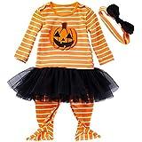 FANCYINN Disfraz de Halloween para bebé, Mameluco con Sombrero de Calabaza a Rayas de una Pieza y Falda de tutú, Disfraces para niños pequeños, 2 uds.3-6 Meses