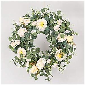 Artificial Flower Wreath White Camellia Door Hanging Green Eucalyptus Home Living Room Decoration Pendant