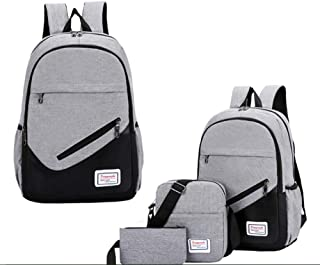 3 Pcs School Laptop Backpack Set Water Resistant College School Computer Bag for Women Men Fits 15.6 In Laptop Canvas College Student Rucksack for Travel Outdoor Camping (Grey)