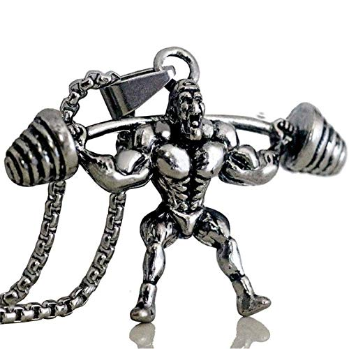 Collar para Hombre, Collar con Colgante De Mancuerna para Hombre Fuerte, Cadena De Acero Inoxidable, Músculo, Hombre, Deporte, Fitness, Cadera