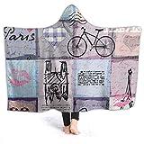 Inaayayi Manta de forro polar con capucha, estilo retro, para bicicleta, torre Eiffel, viaje europeo, manta supersuave para cama, sofá, ligera, para viajes, camping, para niños y adultos, negro, 50'x40'