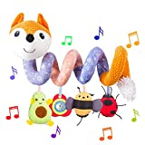 HILENBO Car Seat Toys, Infant Baby Orange Fox Plush Spiral Activity Hanging Toys for Stroller Crib Bar Bassinet Car Seat Mobile with Music Box BB Squeaker and Rattles(Orange)