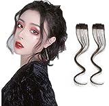Extension per capelli con frange laterali, 2 pezzi, con frange di capelli veri e propri – 35,6 cm, colore nero