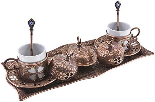 Premium Turkish Greek Arabic Coffee Espresso Serving Set for 2,Cups Saucers Lids Tray Delight Sugar Dish 11pc (Copper Brown)