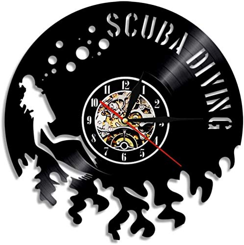ZZNN Reloj de Pared de Vinilo para Buceo con escafandra, Reloj de Disco de Vinilo para Buceo, decoración de Interiores para Sala de Estar, natación y Buceo