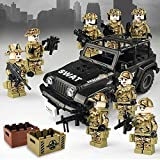 ATIN Juego de muñeca militar Jeep Policía, minifigura de la Warfare Brigade, pieza de armas para niños montada, juguete pedagógico