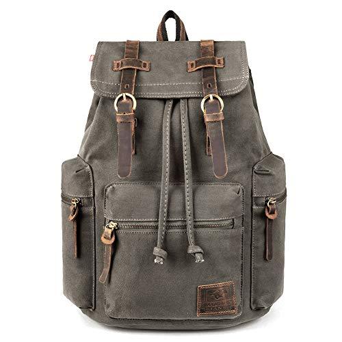 Canvas Backpack, P.KU.VDSL-AUGUR SERIES Vintage Canvas Leather Backpack Hiking Daypacks...
