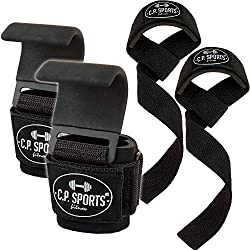 CP Sports pull-up hook set + padded pulling aids - pulling aids strength training, pulling hook pulling aids, bodybuilding grip aid with steel hooks, pulling loops