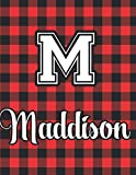Maddison: Handmade Red and Black Flannel Lumberjack Plaid Notebook & Sketchbook With letter M Gift Idea for Christmas   Christmas...