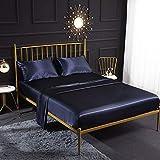Juego de sábanas de seda de satén crema, 4 piezas con sábana bajera de satén, sábana encimera, funda de almohada transpirable, suave y cómoda, juego de cama tamaño King