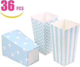 Tvoip 36Pcs/Lot Colorful Favor Candy Treat Popcorn Boxes for Candy&Food&Chocolate Wedding&Birthday&Movie Party Supplies Blue