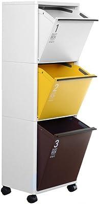 アスベル 資源ゴミ分別ワゴンワイド3段 ベージュ12.5L/イエロー12.5L/ブラウン18L 6708