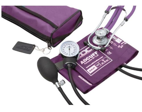 ADC - 768-641-11AV Pro's Combo II SR Adult Pocket Aneroid/Scope Kit with Prosphyg 768 Blood Pressure Sphygmomanometer and Adscope Sprague 641 Stethoscope with Nylon Carrying Case, Purple