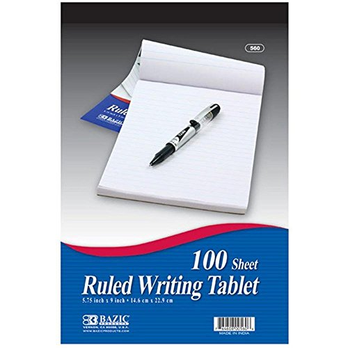 Ruled Writing Tablet - 100 Ct. 6 Inch X 9 Inch (Pack of 3)