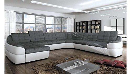 JUSThome Infinity XL Comfort Divano a U Divano Imbottito Divano angolare Finta PelleTessuto a strutturale (LxLxA): 310x390x76-86 cm Bianco Grigio I Penisola a Sinistra