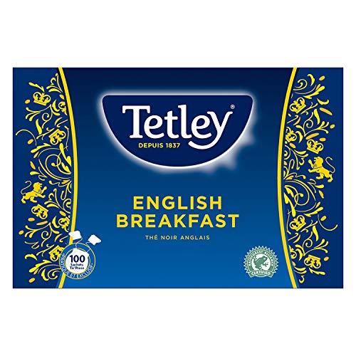 Tetley - Thé Noir English Breakfast - Arôme Riche et Corsé - Thé Certifié Rainforest Alliance - 100 Sachets Tir'Press