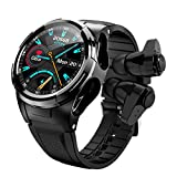 Smart Watch Men with TWS Bluetooth Earphones Full Touch Screen Sport Smartwatch for iOS Android (Black)