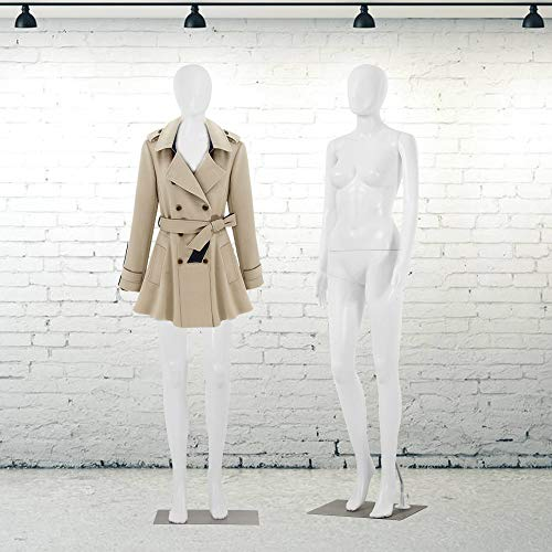 Female Mannequin Torso Manikin Dress Form 69' Realistic Full Body Mannequin Display Head Turns with Metal Base Plastic Adult Woman Adjustable Detachable Poseable Mannequin Model Dummy Mannequin Stand