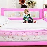 Barrera de seguridad / protección para cama infantil, desmontable, portátil, plegable y universal 180*64*34.5cm rosa