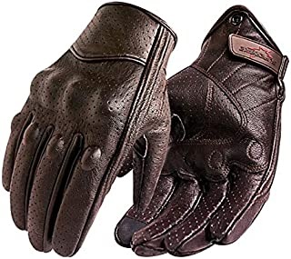 Bruce Dillon Touch Screen PU Leather Motorcycle Hard Knuckle Gloves Racing Biker Motorcycle Motocross Black X S X