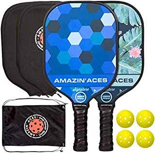 Amazin' Aces Pickleball Paddles - USAPA Approved Signature Series, Pickleball Paddle Set of 2 Pickleball Racquet, 4 Pickleballs, 2 Paddle Covers, Carry Bag, Graphite Face, Honeycomb Core, Blue & Green