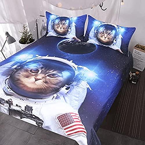 HSBZLH Funda De Edredón Cuna Divertido Juego Cama Gato Espacial 3 Piezas Colcha Astronauta para Mascotas Adolescentes Niños Ropa Cama Galaxia Azul Funda Nórdica Universo Estrellas