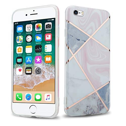 Cadorabo Custodia per Apple iPhone 6 / iPhone 6S in Marmo rosa oro bianco no.9 - Morbida Cover Protettiva Sottile di Silicone TPU con Motivo Mosaico - Ultra Slim Case Antiurto Gel Back Bumper Guscio