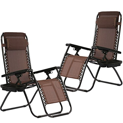 Zero Gravity Chairs Set of 2 with Pillow and Patio Outdoor Adjustable Dining Reclining Folding Chairs for Deck Patio Beach