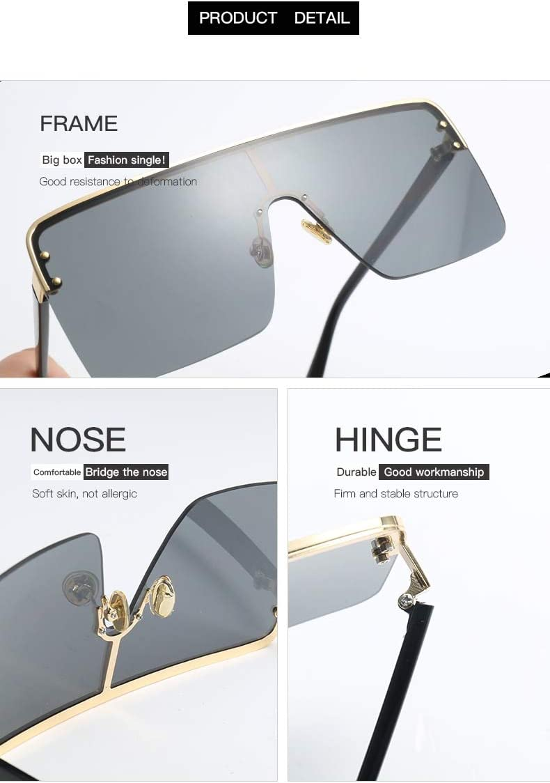 N////A Sonnenbrille Metall quadratische Sonnenbrille Frauen Mode Schild Spiegel /übergro/ße Flache Sonnenbrille M/änner Vintage gro/ße Farbt/öne Wein rote Brille