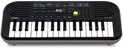 Casio SA-47 - Mini tastiera elettronica polifonica ad 8 Voci e 32 tasti, Nero/Grigio