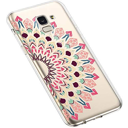 Uposao Kompatibel mit Samsung Galaxy J6 2018 Handyhülle Transparent mit Muster Motiv TPU Silikon Schutzhülle Case Crystal Clear Handytasche Dünn Stoßfest Bumper Backcover,Pink Sonnenblume