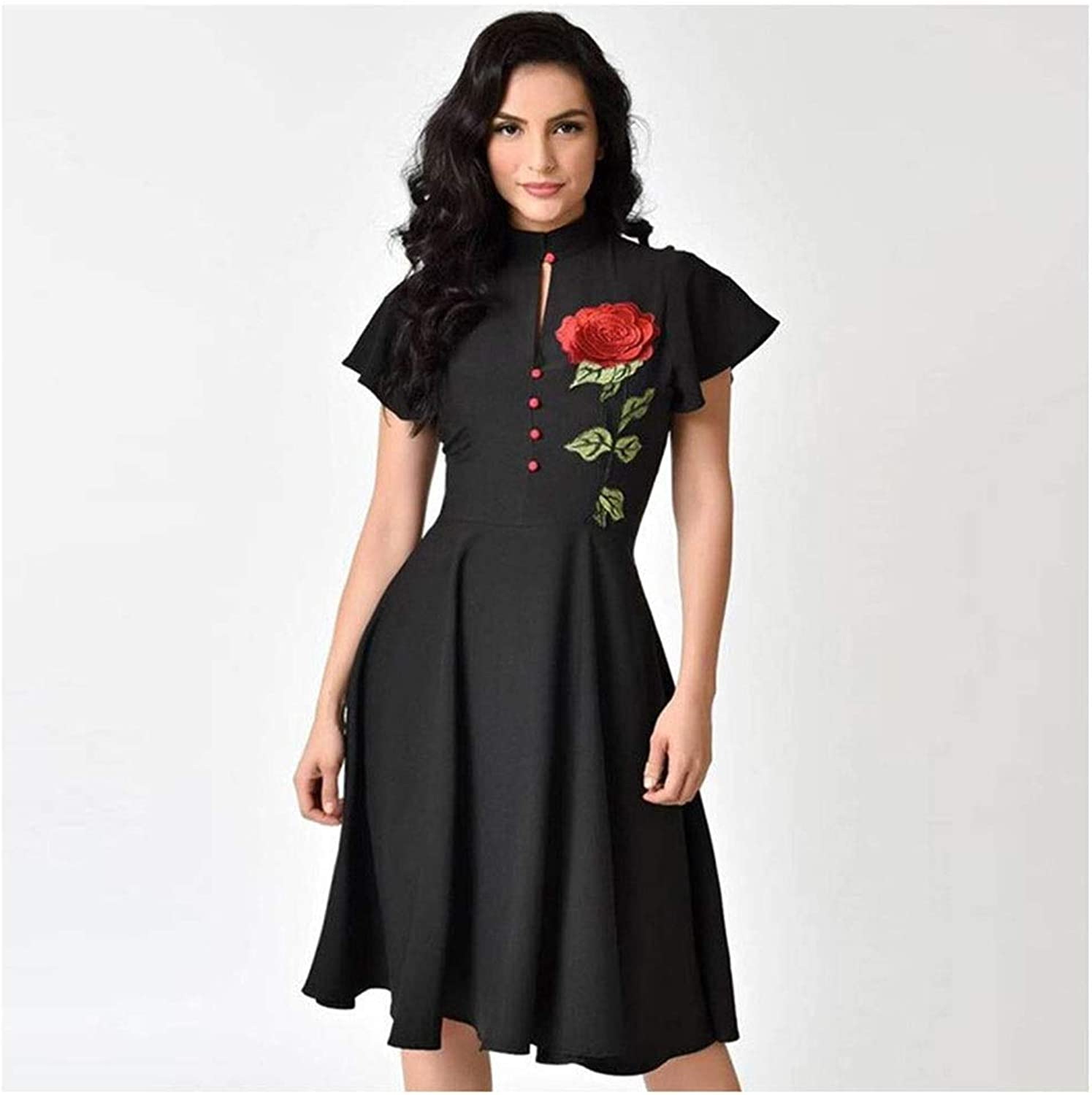 CARRY Dress, Europe and America, Comfortable and Soft Cocktail Dress, Solid color, ShortSleeved Embroidery, Professional Small Stand Aline Dress (color   Black, Size   2XL)