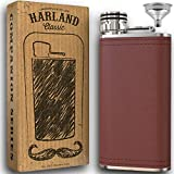 8oz Grip Cap Pocket Flask + Funnel + 2x Wider Mouth - Premium 18/8#304 Stainless Steel Highest Food Grade | Soft Touch Brown pu Leather Wrap | Classic Retro Style Look