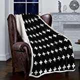 FAMILYDECOR Cozy Lightweight Sofa Couch Throw Blanket for All Seasons Black White Cross Geometric Design Luxury Sherpa Fleece Bed Blanket for Sofa Couch, Bedroom, Office,Camping 49'x79'