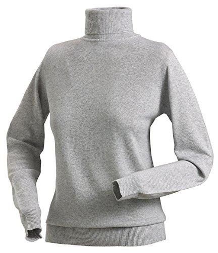 Royal Spencer Damen Rollkragen-Pullover aus Kaschmir-Seide, Kaschmir-Pullover in Grau, kuscheliger Winterpullover, feines Naturprodukt, Gr: S - XL