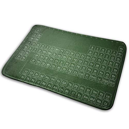 MEJX Antideslizante Suave Alfombra de Baño,Tabla periódica de Elementos en Tonos Verdes educados,Micro Personalizado Decoración del Hogar Baño Alfombra de Piso,75 x 45 CM