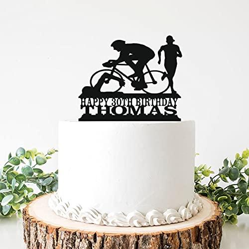 Decoración para tarta de boda de acrílico para hombre de triatlón y decoración para tarta de cumpleaños de 6 pulgadas para despedida de soltera, aniversario, cumpleaños.
