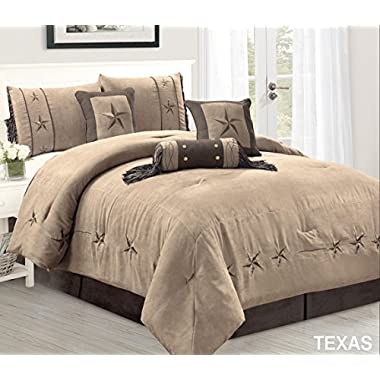 Grand Linen 7 Piece Taupe/Brown/Gold Bedding Oversize RUSTIC TEXAS Lone Star King Size (106 X 96 ) Comforter Set Micro Suede Western Decor Lodge Bed In A Bag