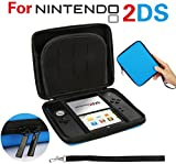 GPCT Nintendo 2DS Hard Shell EVA Carry Case Cover Bag. Protects Against Bumps/Drops/Dust/Dirt/Scratches. Protective Travel Storage Cover Pouch W/ 8 Game Holders, Double Zipper Zip Pocket- Blue