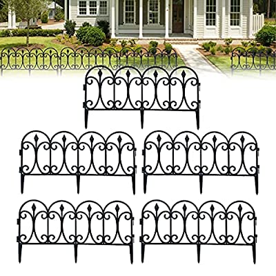 Garden Fence Decorative Black Metal,Beautiful Wire Folding Connectable Landscape Wire Border Fencing,for Patio Flower Bed Pet Dog Barrier Outdoor Edging Garden Black
