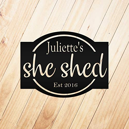 Tamengi Personalized She Shed with Established Date Metal Sign Wall Hanging Wall Address Plaque Room Decor Monogram Wall Art Outdoor Indoor Metal Sign 14inch
