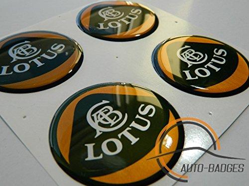 LOTUS Satz von 4 Kunststoff Emblem selbstklebende Abzeichen 50mm gelten für Nabenabdeckungen