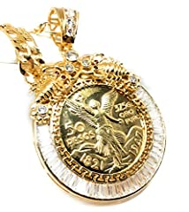 Gold plated base material. Figaro style chain is 26 inches long and 5mm in width. Mexican Centenario coin with CZ holder.