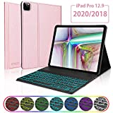 KVAGO iPad Pro 12.9 2020/2018 (4th/3rd Generation) Keyboard Case, Slim Smart Cover with Magnetic Detachable Wireless Bluetooth Backlit Keyboard for 12.9' 4th Gen 2020 / 3rd Gen 2018 –Rose Gold