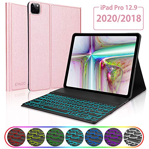 """KVAGO iPad Pro 12.9 2020/2018 (4th/3rd Generation) Keyboard Case, Slim Smart Cover with Magnetic Detachable Wireless Bluetooth Backlit Keyboard for 12.9"""" 4th Gen 2020 / 3rd Gen 2018 –Rose Gold"""