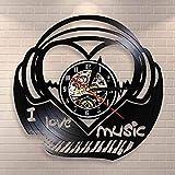 RFTGH Me Encanta la música Piano Teclado Reloj de Pared música Latido del corazón Disco de Vinilo Reloj de Pared música Sonora Retro Latido Efecto de Sonido